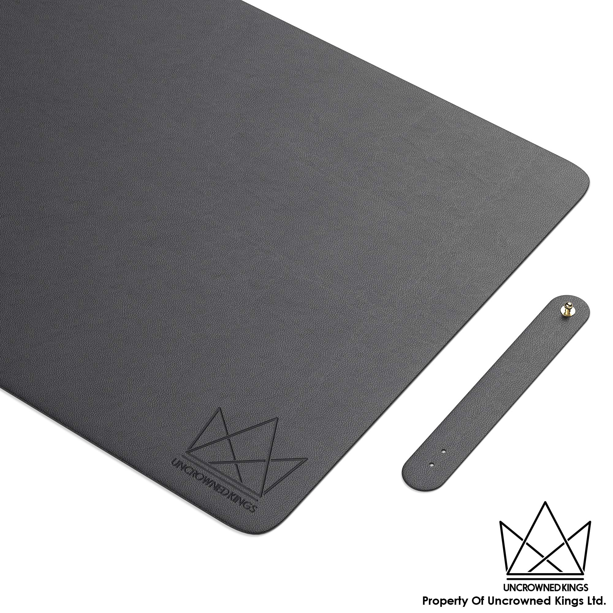 Uncrowned Kings Desk Pad - 31.5 X 15.7 Inches Premium Home Office Desk Mat Protector for Wooden/Glass Desktops - Black Vegan Leather - Waterproof - Extended Mouse Pad-Smooth for Writing – Desk Blotter