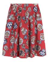 LaVieLente Women's Novelty Pattern Knee Length Midi Skirt in Sloth, Dinosaur & Other Fun Graphic Designed Vintage Styles