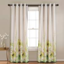 MYSKY HOME Floral Design Print Grommet top Thermal Insulated Faux Linen Room Darkening Curtains, 52 x 84 Inch, Green, 1 Panel