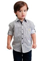 Dakomoda Toddler Boys' Roll Up Black White Striped Dress Shirt - 100% Pima Cotton