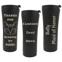 Personalized Tumblers with Custom Engraving, Double Wall Insulated Stainless Steel Bottle, Numerous Fonts (17oz - Travel, Black)