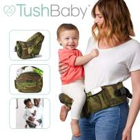 TushBaby The Only Safety Certified Hip Seat Baby Carrier – As Seen On Shark Tank, Ergonomic Waist Carrier for Newborns, Toddlers & Children, Camo
