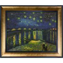"""La Pastiche Starry Night Over The Rhone Framed Oil Painting, 25.5"""" x 21.5"""", Multi"""