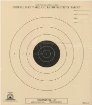 DOMAGRON 50 Foot Timed and Rapid Fire Pistol Target Official NRA Target B-3