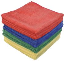 Eurow Microfiber Max Absorb Fast Drying Auto Detailing and Home Cleaning Colorful Towels 16 x 16 Inches 300 GSM 12-Pack 4 Colors
