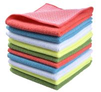 "SINLAND Microfiber Dish Cloth for Washing Dishes Dish Rags Best Kitchen Cloths Cleaning Cloths with Poly Scour Side 5 Color Assorted 12""x12"" 10 Pack (Pinkx2+bluex2+whitex2+yellowx2+greenx2)"