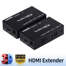 HDMI Extender, avedio links HDMI Extender Over Cat 5e/6/7, 196ft/60m HDMI Over Ethernet Extender Support Full HD 1080P 3D, EDID Copy, Deep Color, Compatible with Fire Stick, Roku, Blue-ray