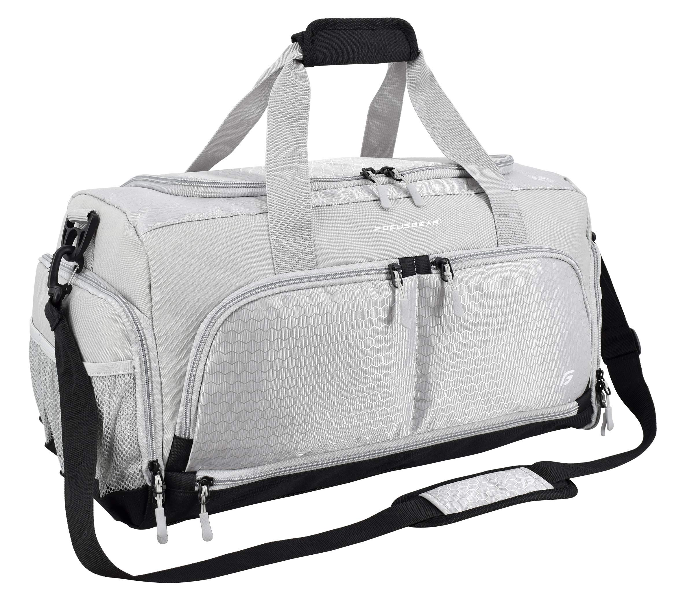 """Ultimate Gym Bag 2.0: The Durable Crowdsource Designed Duffel Bag with 10 Optimal Compartments Including Water Resistant Pouch (Silver, Medium (20""""))"""