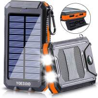Solar Charger 20000mAh YOESOID Portable Solar Power Bank External Backup Battery Pack Waterproof Solar Phone Charger with Dual USB Ports 2 LED Light Carabiner and Compass for Smartphones