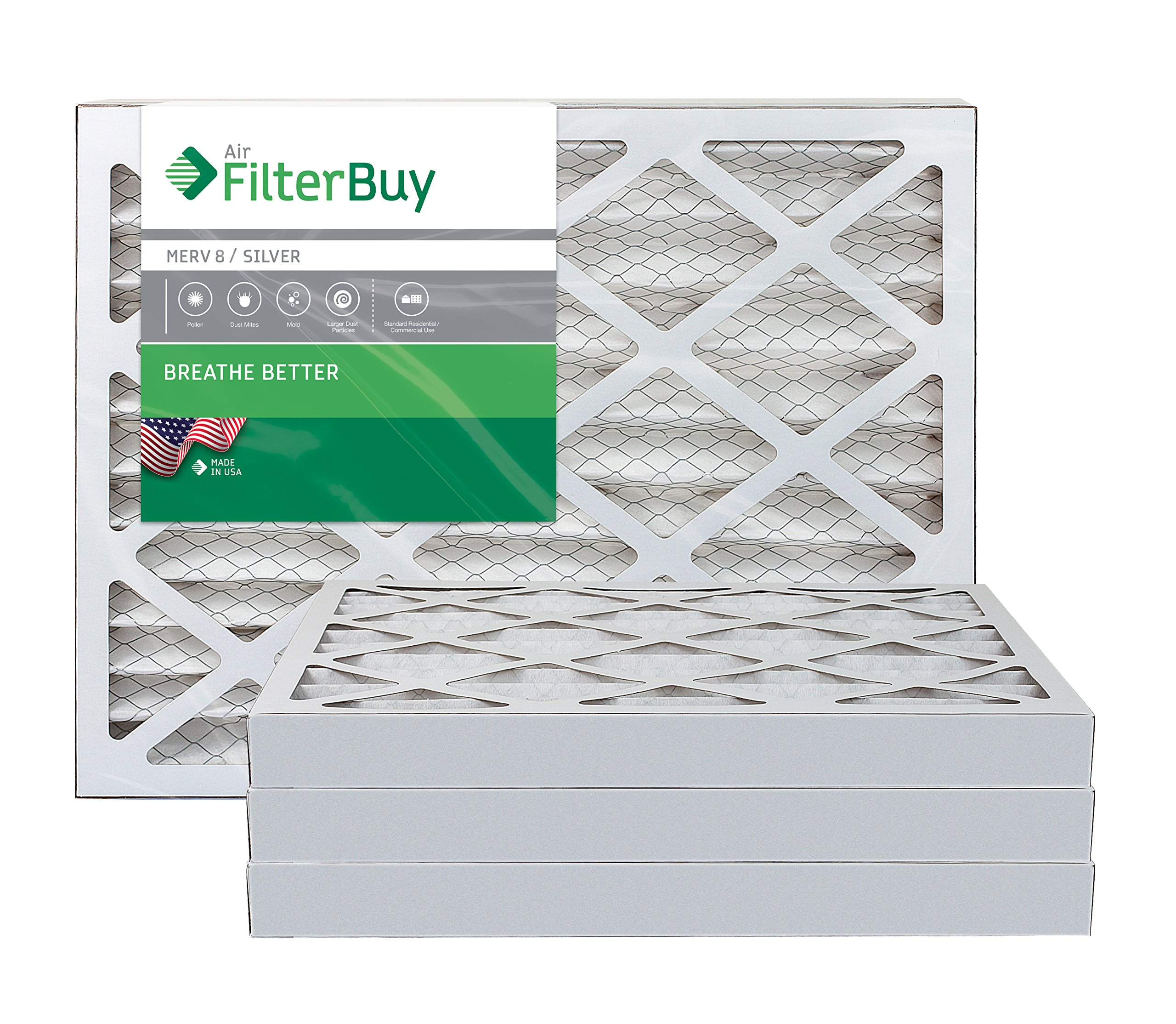 FilterBuy 16x24x2 MERV 8 Pleated AC Furnace Air Filter, (Pack of 4 Filters), 16x24x2 – Silver