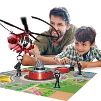 Sunny Days Entertainment Maxx Action Chopper Command Flying Helicopter Fire Rescue Electronic 70's Retro Playset Made for Modern Play with Activity Playmat
