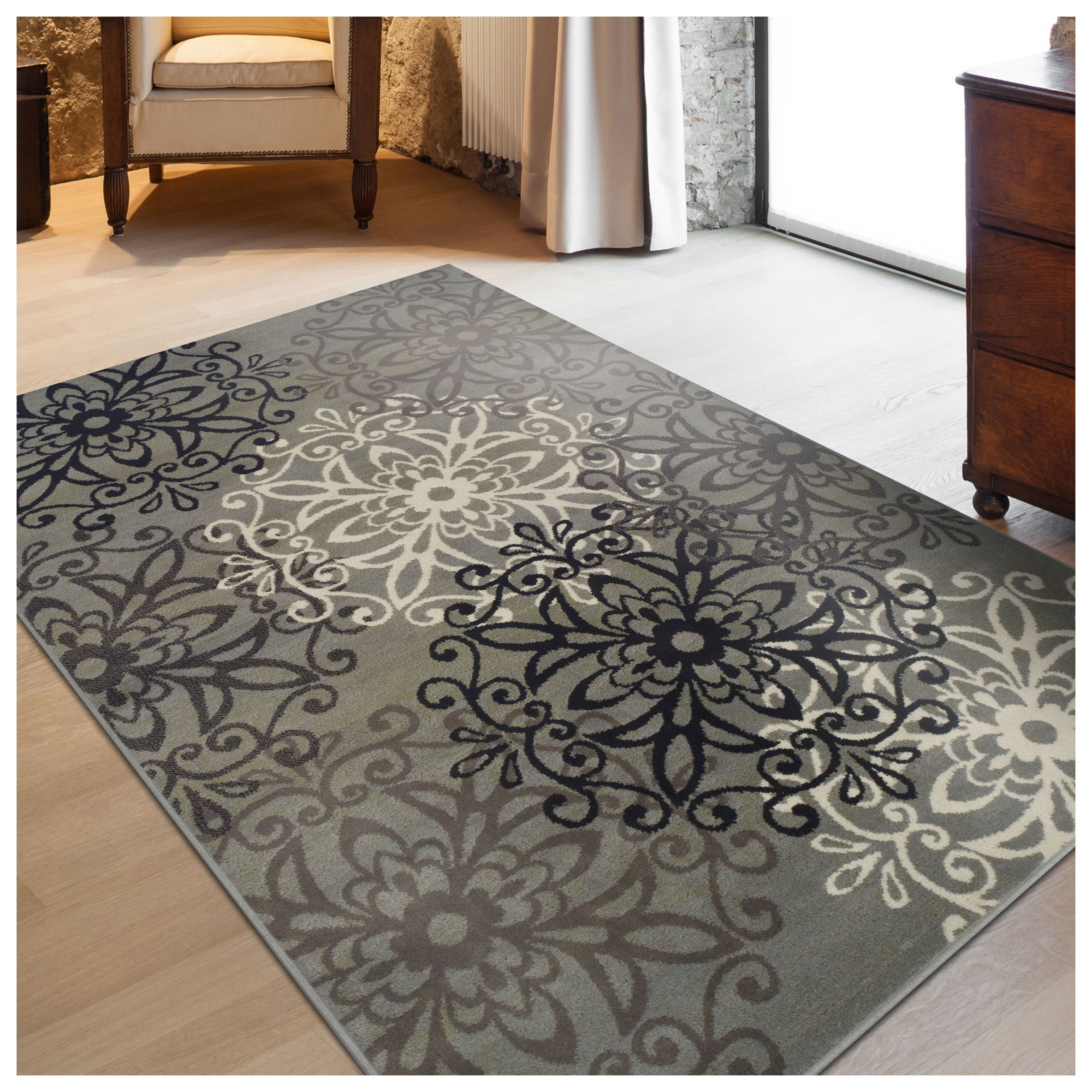 Superior Elegant Leigh Collection Area Rug, 8mm Pile Height with Jute Backing, Chic Contemporary Floral Medallion Pattern, Anti-Static, Water-Repellent Rugs - Blue, 8' x 10' Rug