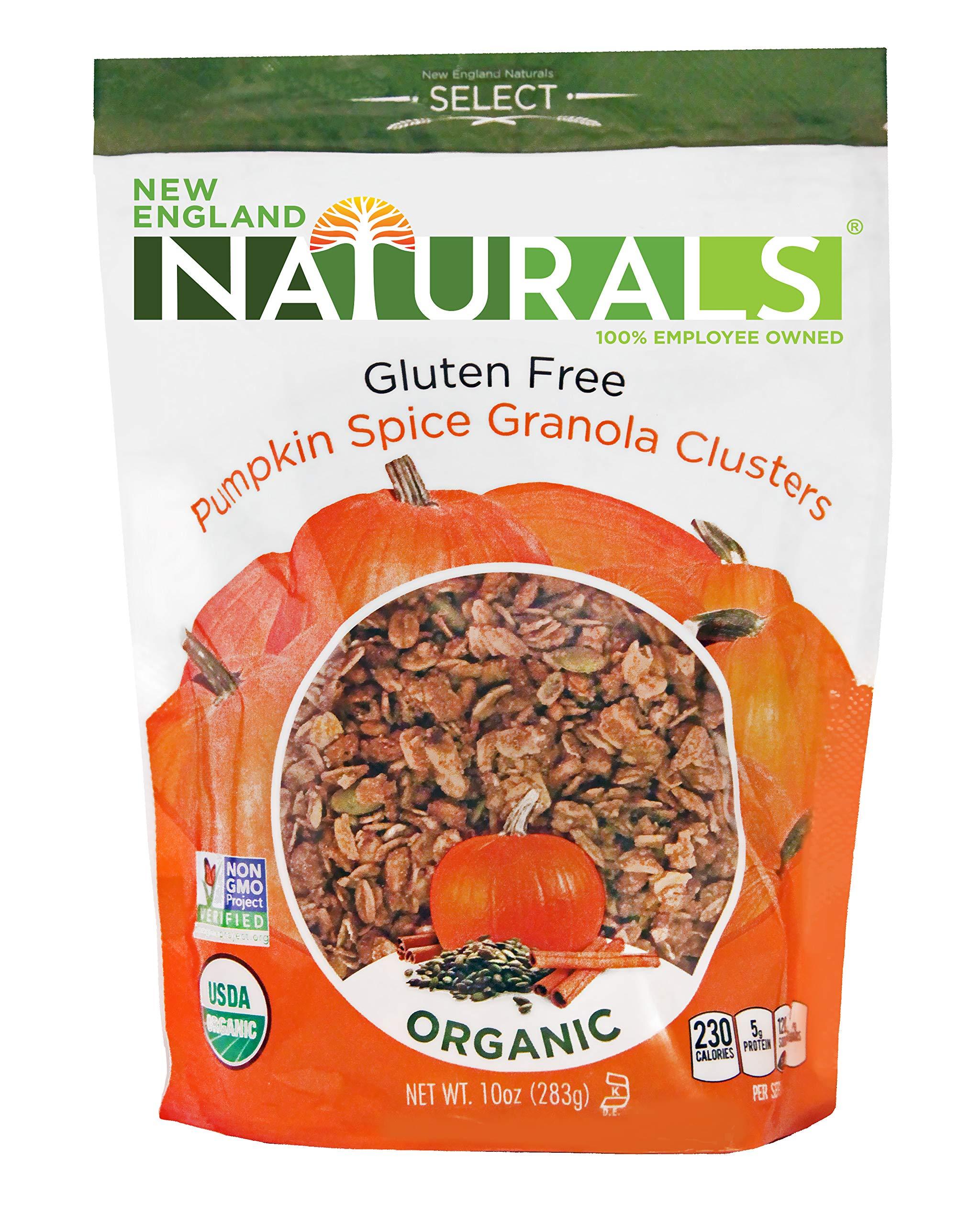 New England Naturals Organic Gluten-Free Pumpkin Spice Granola Clusters, 10 Ounce Pouch Gluten Free Pumpkin Spice Granola Cluster Breakfast Cereal, Non-GMO, USDA Organic, Kosher