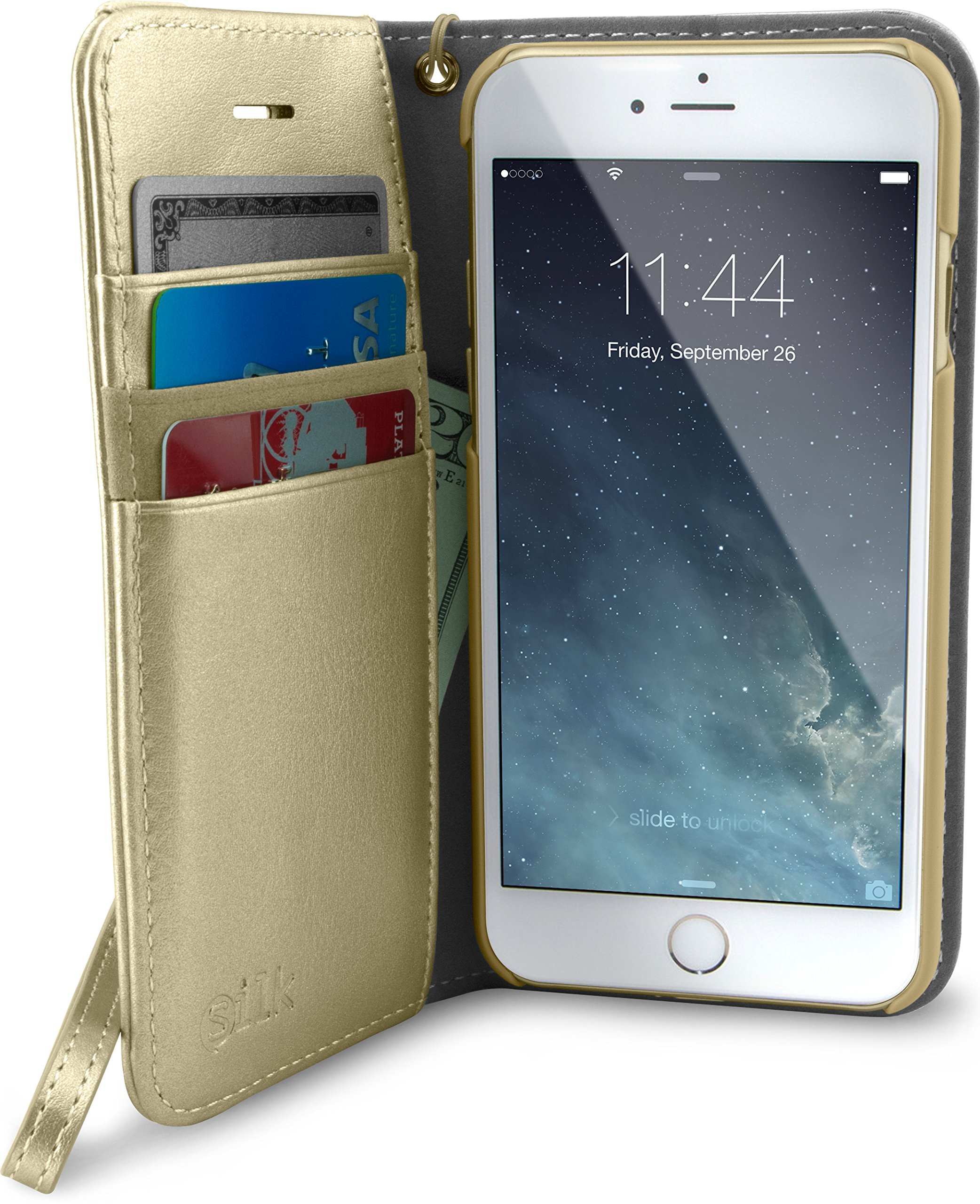 Smartish iPhone 7/8/SE (2020) Wallet Case - Keeper of The Things - Folio Wallet Synthetic Leather Portfolio Flip Credit Card Cover with Kickstand [Silk] - Champagne Gold