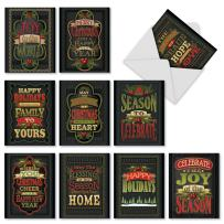 10 Assorted 'Chalk Up Another Holiday' Christmas Cards with Envelopes 4 x 5.12 inch, Season's Greetings Cards with Colorful Chalkboard Quotes, Stationery for Holidays, New Year, Parties M2297
