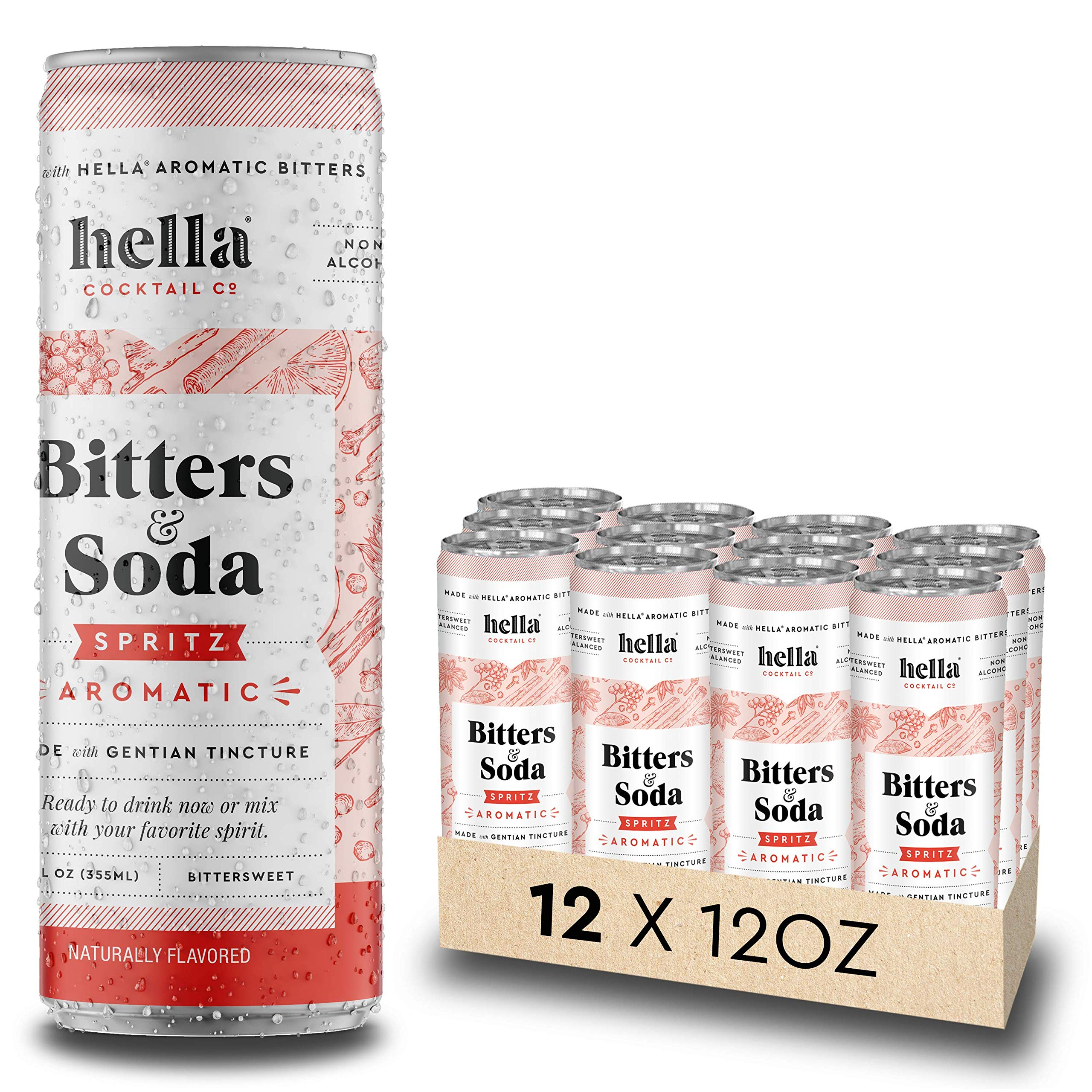 Hella Cocktail Co.   Spritz Aromatic Bitters & Soda   12oz Cans (Case of 12)   Ready to Drink or Use as Cocktail Mixer   All Natural Ingredients, Made with Gentian Tincture