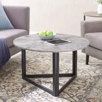 Walker Edison Furniture Company Modern Round Metal Base Coffee Table Living Room Accent Ottoman, 32 Inch, Dark Grey Concrete