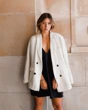 The Drop Women's Peach Beige Oversized Single Breasted Blazer by @milenalesecret