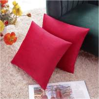 COMFORTLAND Throw Pillow Covers 16x16 Red: 2 Pack Cozy Soft Velvet Square New Year/Christmas Decorative Pillow Cases for Farmhouse Sofa Couch Bed Chair Home Decor Decorations