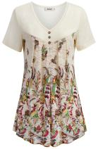 BEPEI Womens Short Sleeve Tunic Lace Floral Summer Loose Dressy Blouse Flowy Top