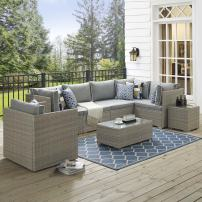 Modway Repose 7 Piece Outdoor Patio Sectional Set  in Light Gray Gray