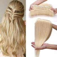 S-noilite 22inch 100g 100% Real Human Hair Clip in Extensions Thick Straight 3/4 Full Head One Piece Invisible Clip on Hair Extensions for Women Girls #613 Bleach Blonde