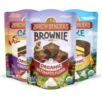 Birch Benders Organic Chocolate Cake, Organic Classic Yellow Cake, and Organic Ultimate Fudge Brownie Mix Variety Pack, 3 Pack (15.2oz each)