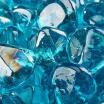 Tahitian Blue - Fire Glass Diamonds for Indoor and Outdoor Fire Pits or Fireplaces | 10 Pounds | 1 Inch