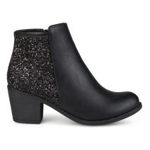 Brinley Co. Womens Faux Leather Wood Stacked Heel Glitter Booties