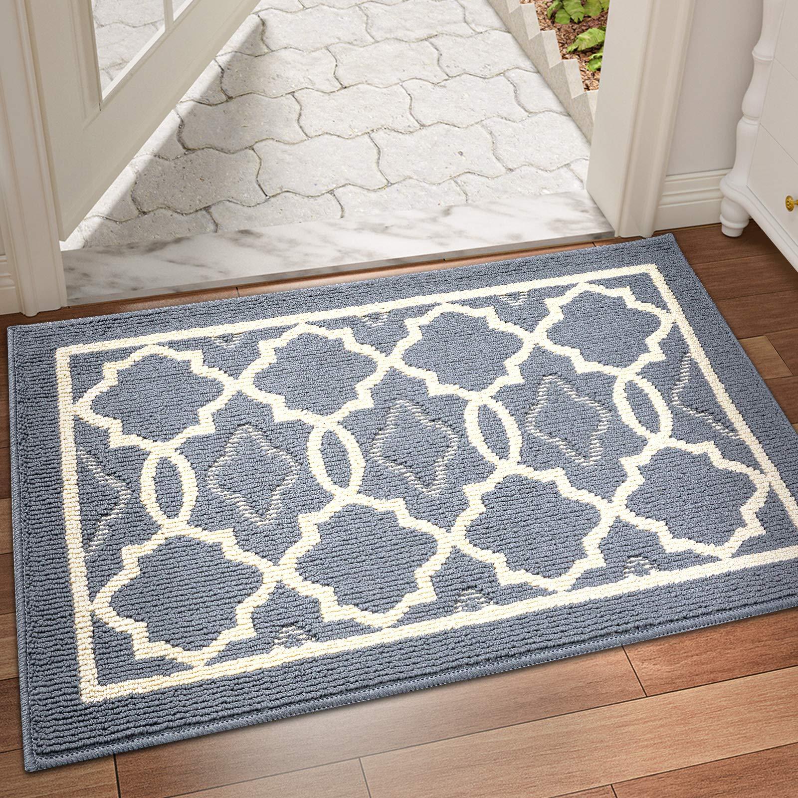 """DEXI Indoor Door Mat Large, 59""""x36"""" Non-Slip Low-Profile Entrance Rug, Absorbent Machine Washable Front Doormats for Back Door, High Traffic Areas, Grey"""