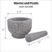 "ARC USA, 046 Granite Mortar and Pestle Set, Marble Stone Mortar and Pedestal, Spice Herb Grinder - Unpolished Heavy Granite for Enhanced Performance and Organic Appearance (5.5"")"