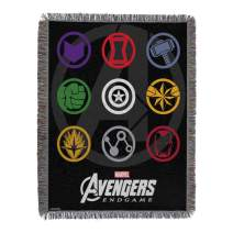 "Marvel Avengers: Endgame, ""Symbols"" Woven Tapestry Throw Blanket, 48"" x 60"", Multi Color"