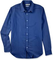 Isle Bay Linens Men's Linen Cotton Slim-Fit Long Sleeve Casual Shirt