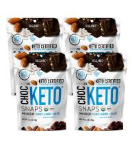 ChocKETO Dark Chocolate Coconut Snaps with Almonds and Sea Salt | Keto Certified, USDA Organic, Certified Gluten Free and Kosher | Sustainably Sourced 85% Cacao, 98 g (4-Pack)