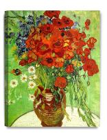 DECORARTS - Red Poppies and Daisies, Vincent Van Gogh Art Reproduction. Giclee Canvas Prints Wall Art for Home Decor 20x16
