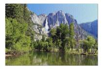 Yosemite National Park, California - Yosemite Falls & Lake with Greenery 9026813 (19x27 Premium 1000 Piece Jigsaw Puzzle, Made in USA!)