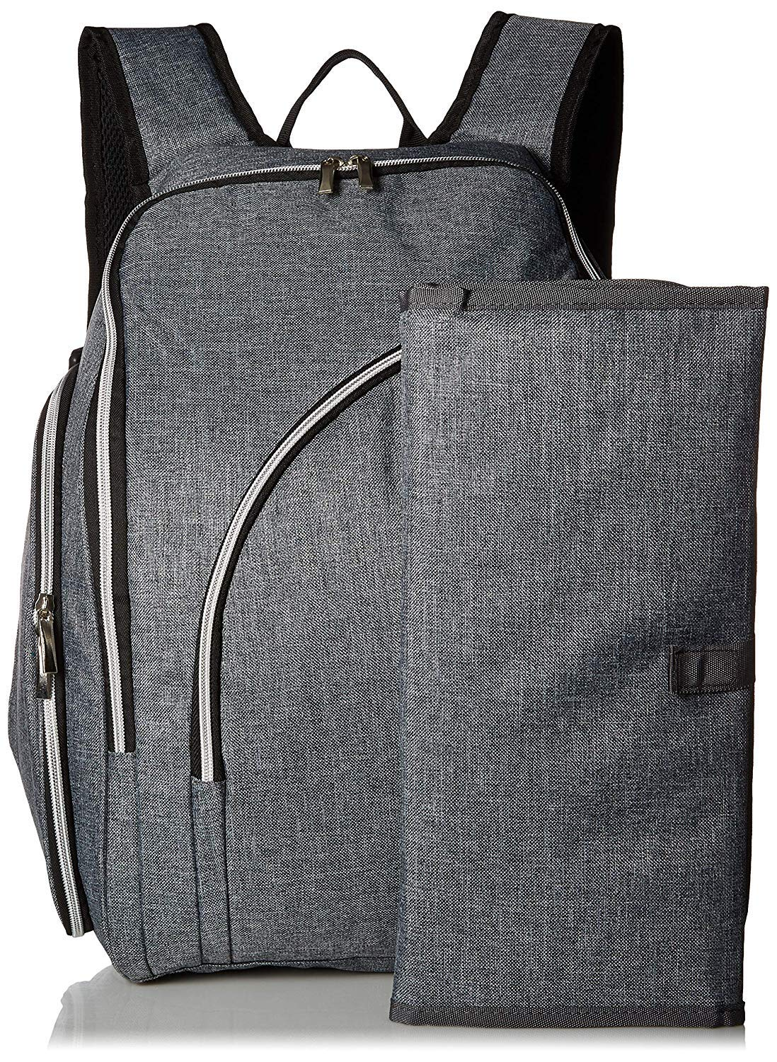 Diaper Backpack, Travel Diaper Backpack with Changing Mat | Anti-Theft Travel Bag w/Insulated Bottle Pocket, Waterproof Pocket, Wipes Storage, Laptop Sleeve, Stroller Straps | Grey