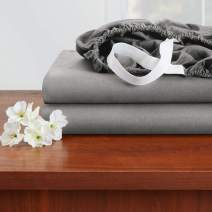 """Empyrean Bedding 14"""" - 16"""" Deep Pocket Fitted Sheet – Hotel Luxury Silky Soft Double Brushed Microfiber Sheet – Hypoallergenic Wrinkle Free Cooling Deep Pocket Bed Sheet, Set of 2 King - Gray"""