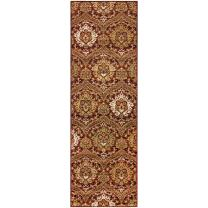 """Superior Designer Augusta Collection Area Rug, 8mm Pile Height with Jute Backing, Beautiful Floral Scalloped Pattern, Anti-Static, Water-Repellent Rugs - Red, 2'7"""" x 8' Runner Rug"""