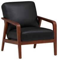 Amazon Brand – Rivet Huxley Leather Mid-Century Accent Chair, Black Leather