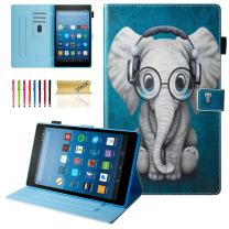 """Dteck All-New Fire HD 10 Case (9th/7th Generation, 2019/2017 Release) - Slim Fit Folio Stand Shockproof Cover PU Leather Case with Auto Wake/Sleep Smart Protector for Fire HD 10.1"""" Tablet, Doctor Elephant"""