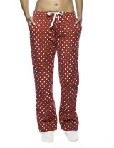 Noble Mount Womens Pajama Pants - 100% Cotton Flannel Lounge Pants - Dots Diva Red - Small