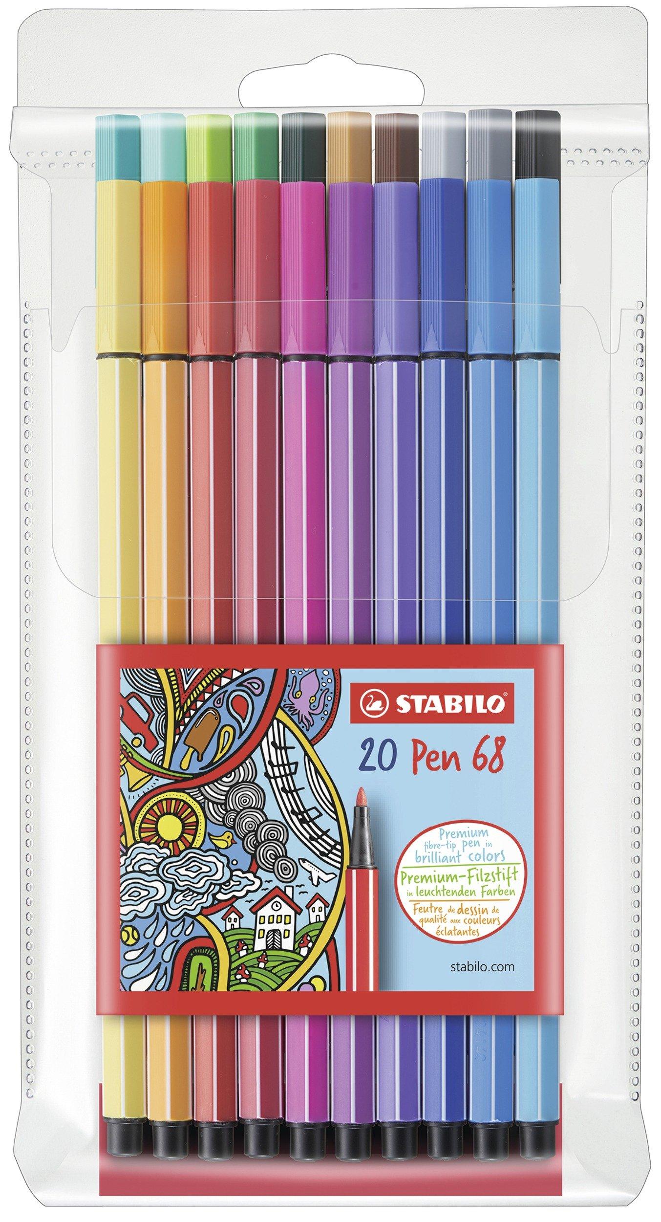 Stabilo Pen 68 Coloring Felt-tip Marker Pen, 1 mm - 20-Color Wallet Set