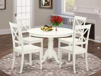 East West Furniture HLBO5-LWH-W 5-Pc Dining Set Included a Round Dining Room Table and 4 Dining Chairs - Solid Wood kitchen Chairs Seat & X-back - Linen White Finish