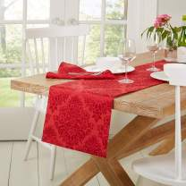 "Town & Country Living Lexington Table Runner 15""x72"" Rectangle, Stain Resistant Machine Washable Cotton/Polyester, Damask Red"