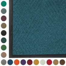 WaterHog Diamond   Commercial-Grade Entrance Mat with Rubber Border – Indoor/Outdoor, Quick Drying, Stain Resistant Door Mat (Medium Blue, 4' x 10')