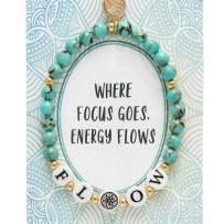 BONALUNA My Wish Flow Mantra 6mm Green Turquoise Color Stone Meditation & Healing Bracelets for Women