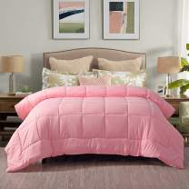 EVOLIVE All Season Pre Washed Soft Microfiber White Goose Down Alternative Comforter (Pink, Twin)
