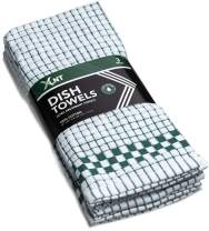 XLNT Checkered Kitchen Hand Towel, with Hanging Loop, 100% Cotton, Ultra Absorbent Dishcloth, Durable, Soft, Quick Drying, Lint Free, Great for Cooking Or Counter Cleaning (Green, 9)