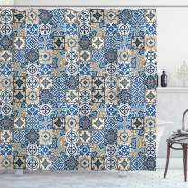 "Ambesonne Moroccan Shower Curtain, Tile Pattern with Portuguese Traditional Azulejo Motifs Oriental Curls, Cloth Fabric Bathroom Decor Set with Hooks, 70"" Long, Pale Brown"